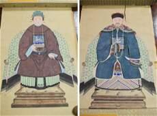 Pair of Chinese Ancestor Portrait Scrolls