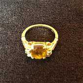 14K Yellow Gold Diamond and Citrine Ring Size 6