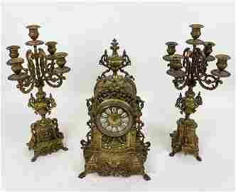 C Cellier Gilt Bronze Mantel Clock & Garniture