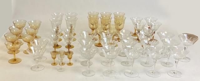 50 Pieces Etched Crystal Stemware
