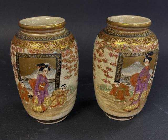 Pair of Japanese Cabinet Vases
