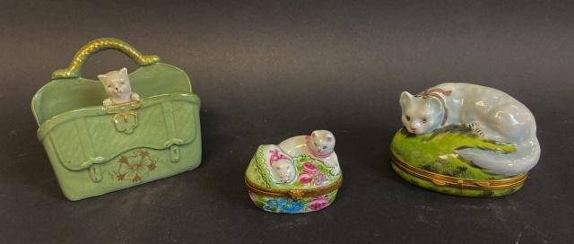 Limoges Cat Boxes, Porcelain Cat Figurine