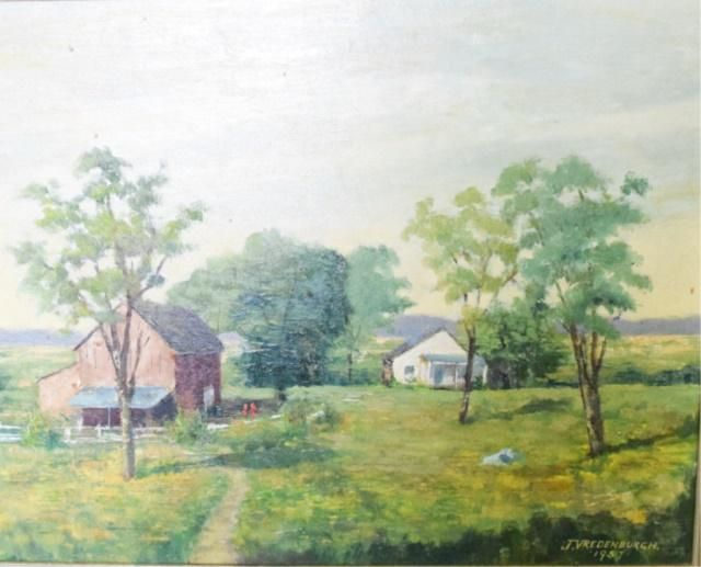 J. Vrendenburgh Oil on Canvas Bucolic Scene