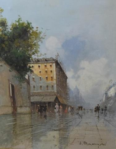 Continental Oil Painting of a Street Scene