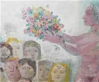 Mid Century Modern Figural Oil Painting