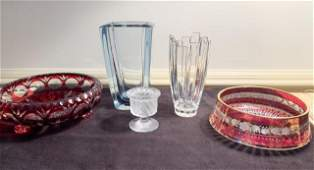 Five Pieces of Glass Cranberry Cut to Clear