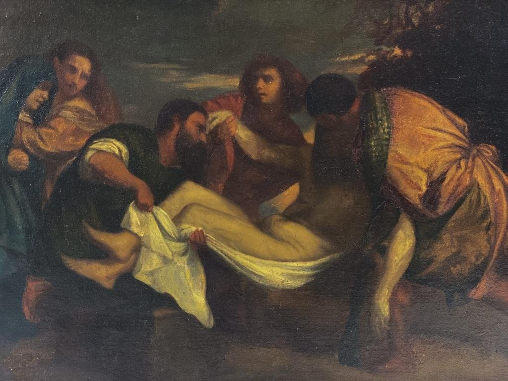 Christ Wrapped in Shroud 18th Century Painting