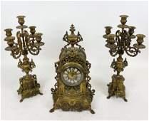 C Cellier Gilt Bronze Mantel Clock  Garniture