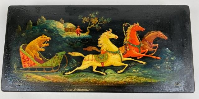 Early Russian Lacquer Palekh Box