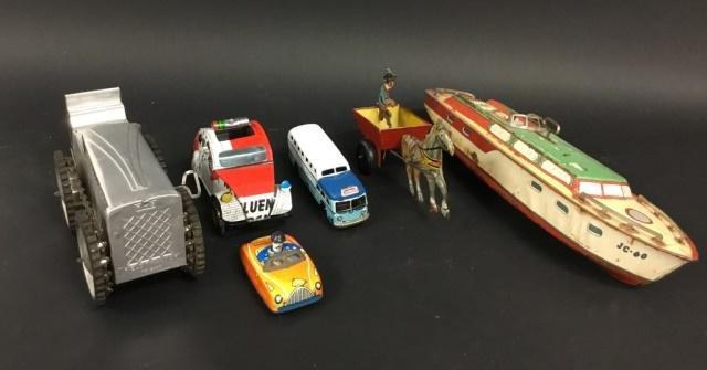 6 Tin & Tin Litho Toys