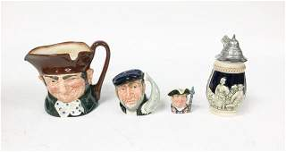 German Stein & 3 Royal Doulton Toby Mugs