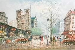 Signed J Bardot Oil on Canvas Street Scene