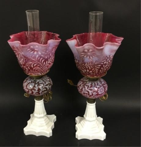 Pair of Electrified Kerosene Lamps