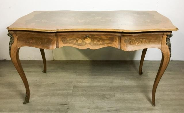 Louis XV Style Marquetry Inlaid Desk