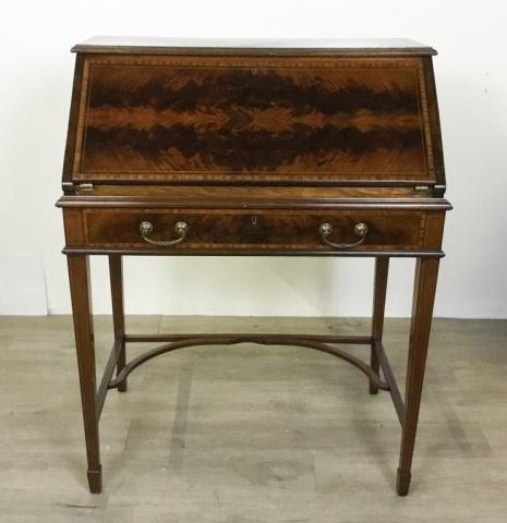 George III Style Inlaid Slant-Front Desk on Stand
