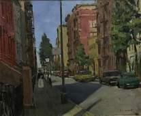FC Herbst Oil on Canvas Street Scene