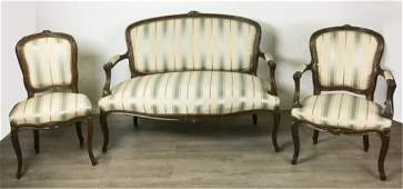 French Settee, Armchair & Side Chair