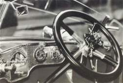 Black and White Photo of a vintage steering wheel