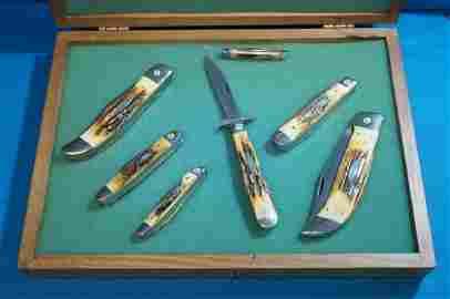 1976 Case Stag Gray Letter 7 Knife Set