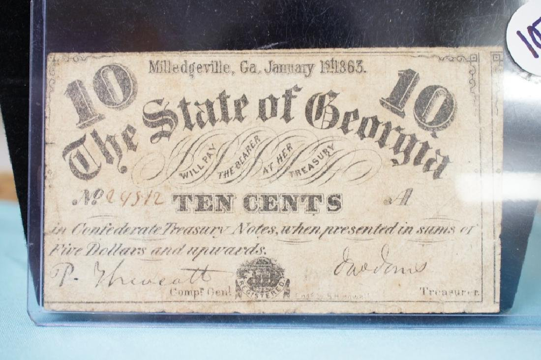 1863 state of Georgia 10 cent currency bill