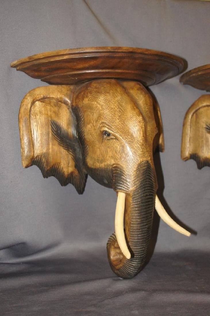 Pair of carved wooden elephant wall sconces - 3