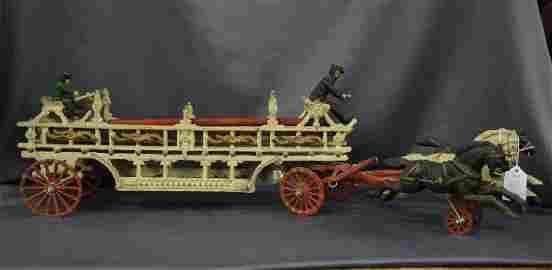 Vintage cast iron fire carriage