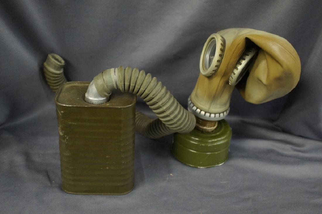 Vintage military gas mask with air tube