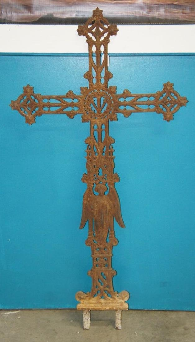 Antique iron French cemetery cross