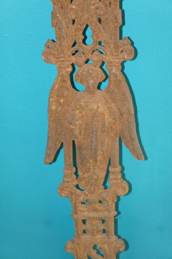 Antique iron French cemetery cross - 2