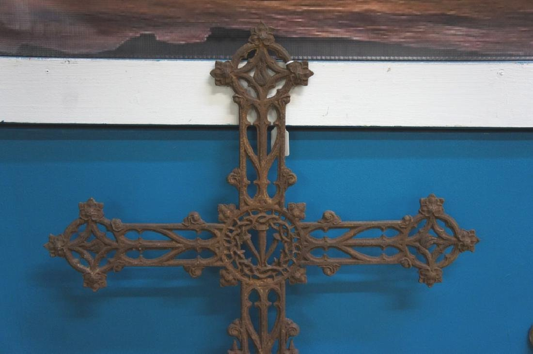 Antique iron French cemetery cross - 3