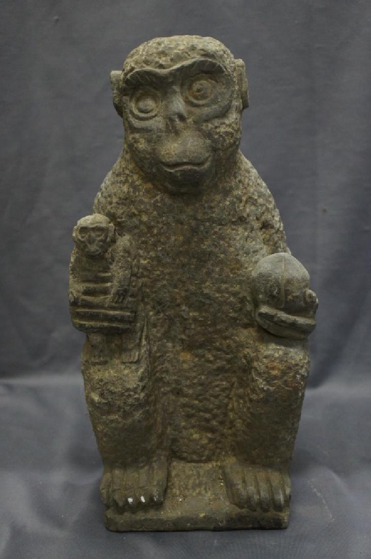 Vintage granite carved monkey statue
