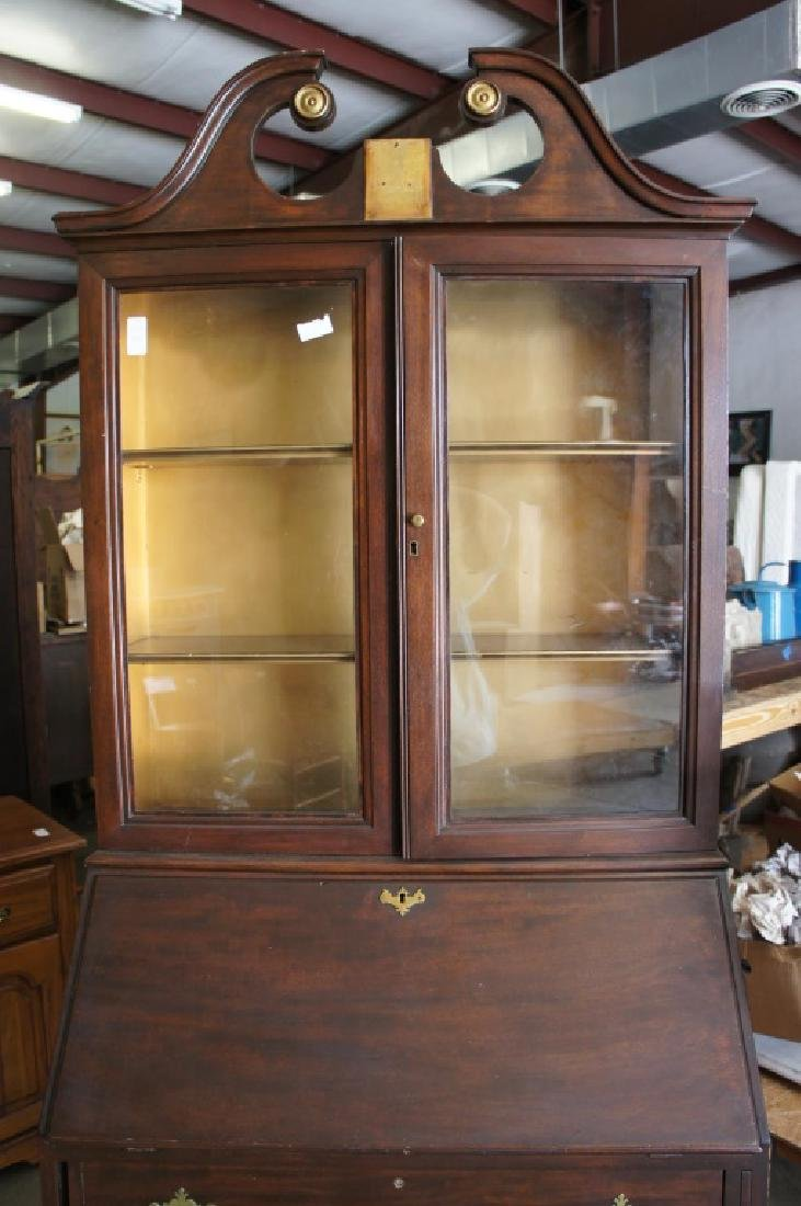 Antique mahogany drop front secretary - 3