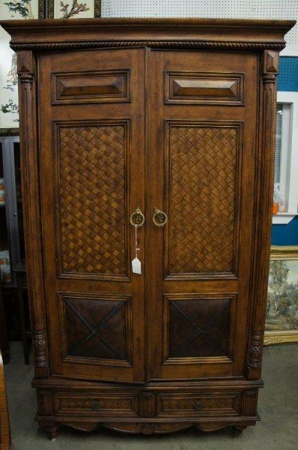 Vintage Caribbean Motif Armoire w/ Leather Doors