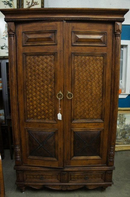 Vintage Caribbean Motif Armoire w/ Leather Doors