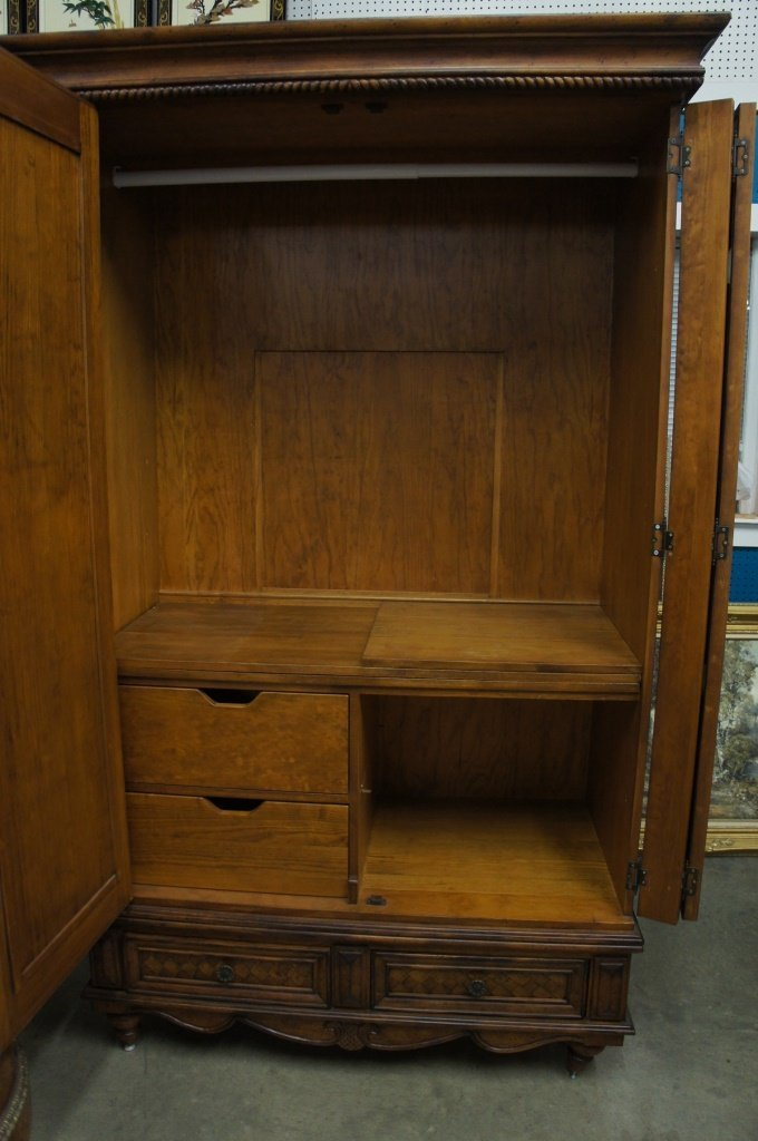Vintage Caribbean Motif Armoire w/ Leather Doors - 5