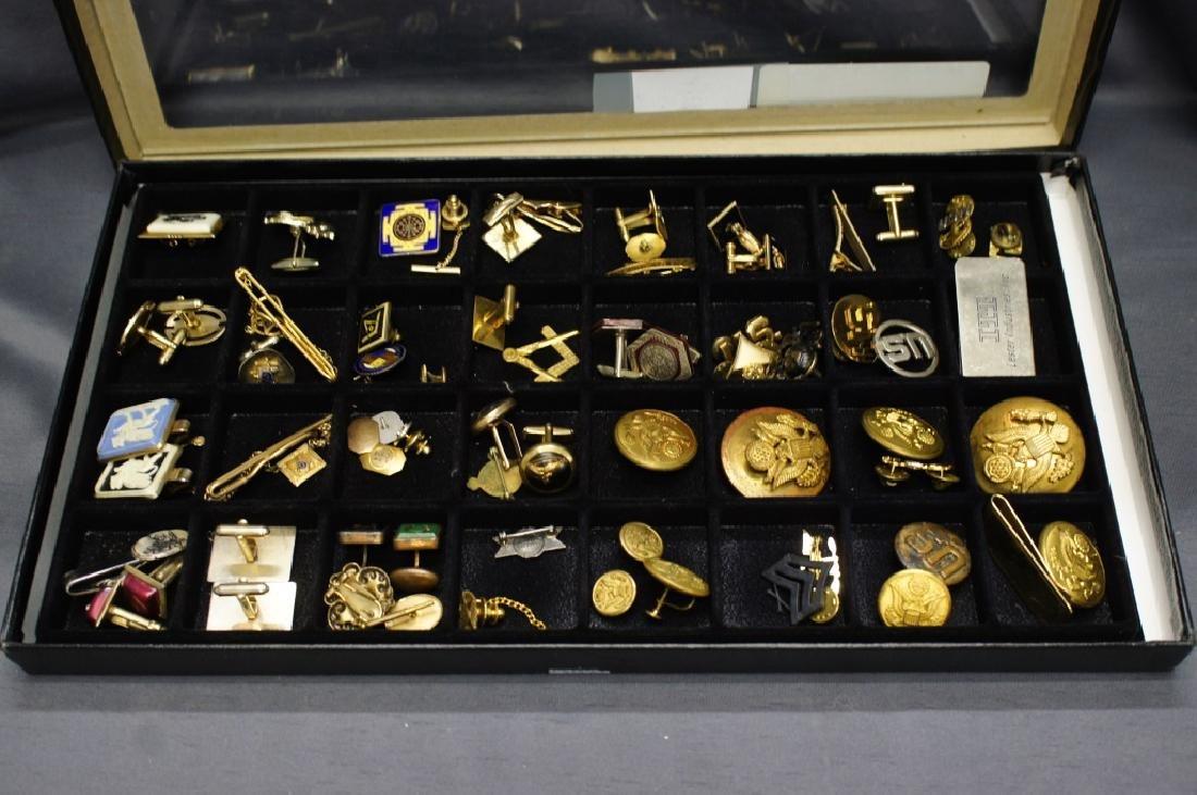 Tray of Military Pins And Masonic Pins / cufflinks