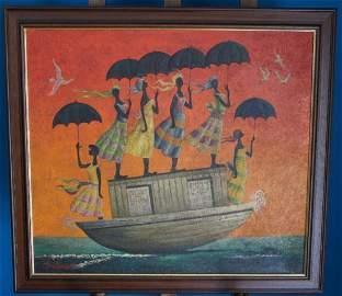 Bulman Oil on Canvas Boat Scene