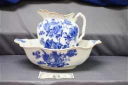 Antique Flow Blue Wash Bowl And Pitcher Set