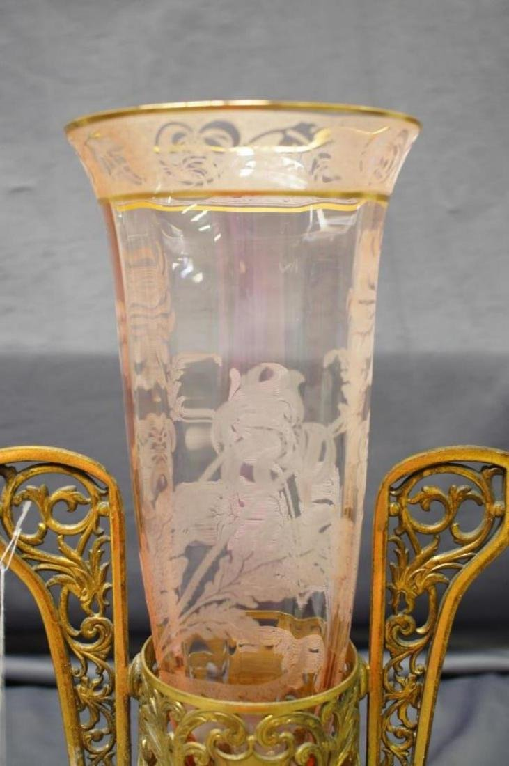 Vintage Pink Etched Crystal Vase With Brass Stand - 2