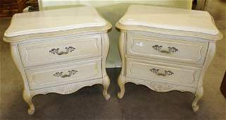 Pair Of French Marble Top Night Stands