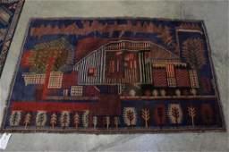 Oushak Handmade Rug with City Scene