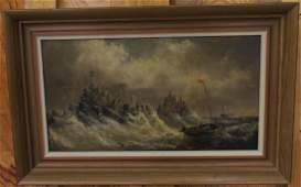 James Bartholomew Oil on Board Ocean Scene