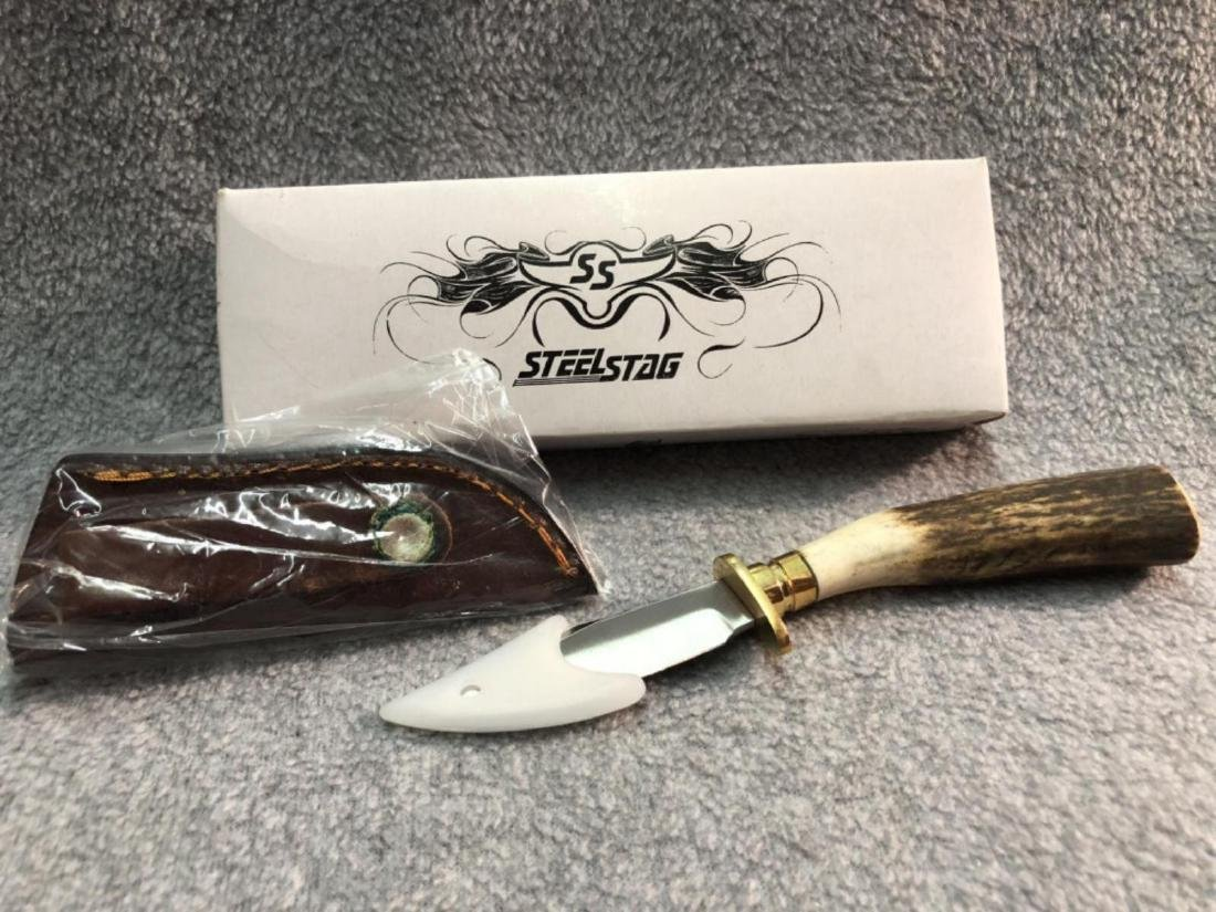 Steel Stag Handle knife with leather holder