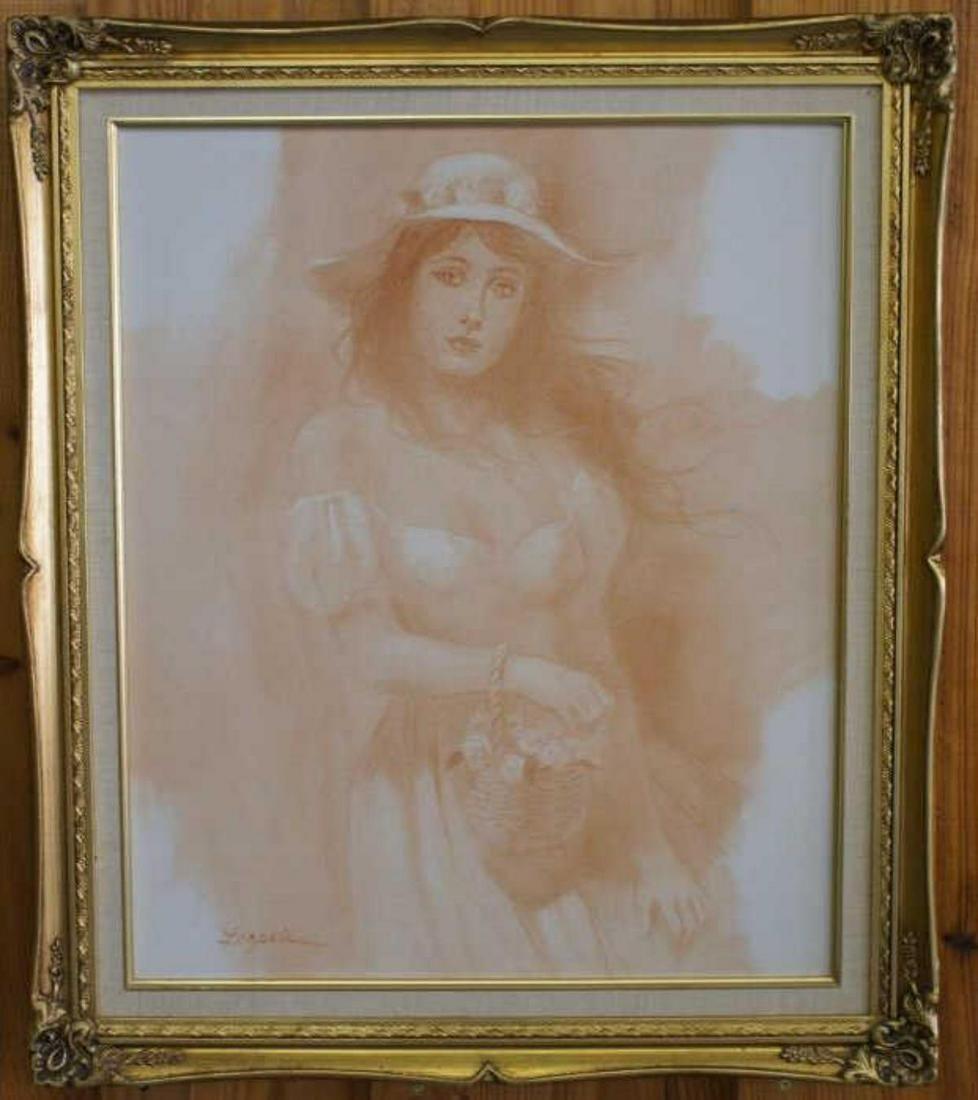 O/C Portrait of Woman in Sepia Tone by Lazarte
