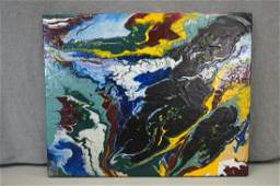 Abstract Acrylic On Board Flowing Molten Rocks