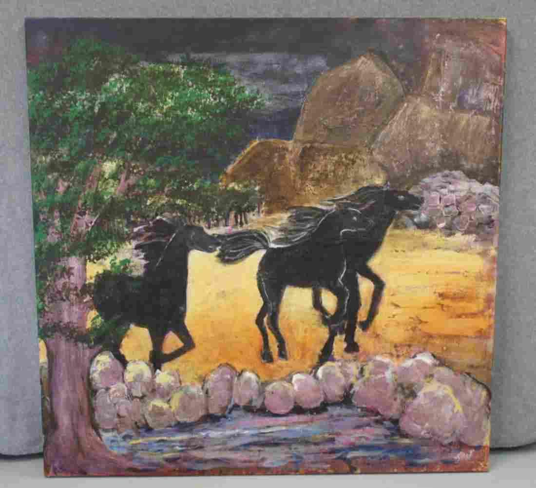 Oil On Canvas Horses Running