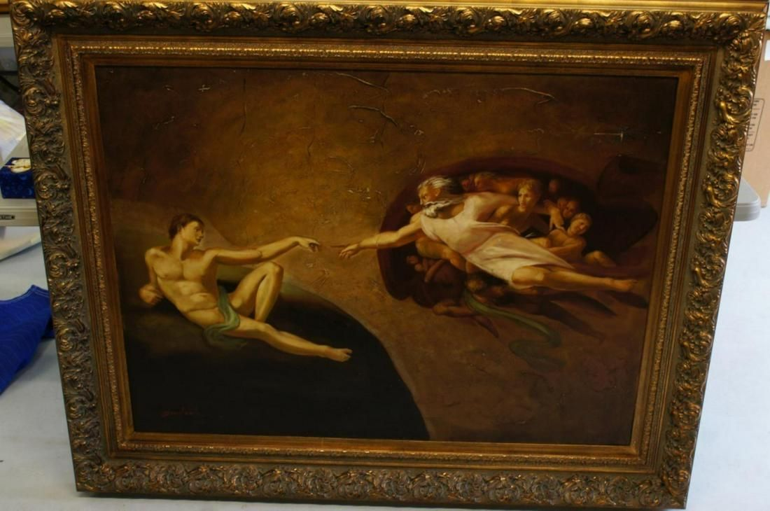 "Michelangelo's ""Creation of Adam"" Religious O/C"