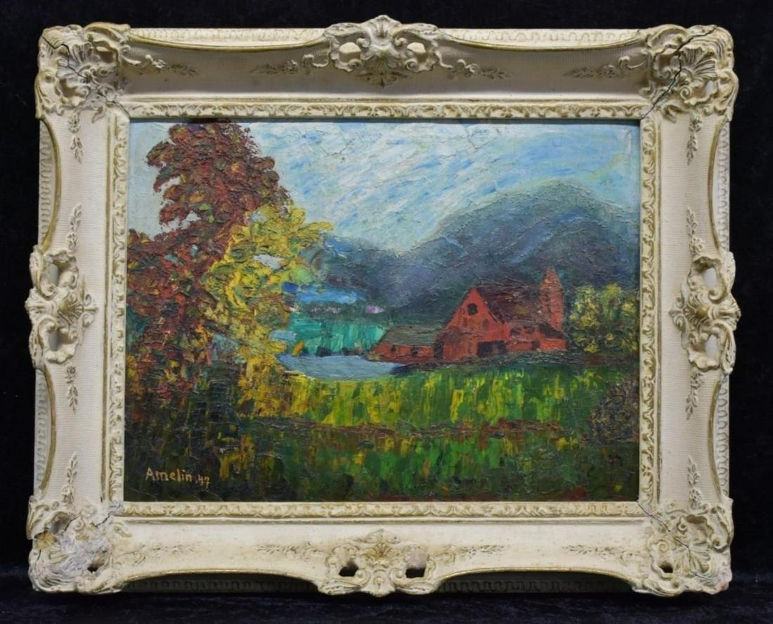 1947 Albin Amelin Landscape With Barn O / B