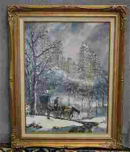 Robert LeBron oil on Canvas Snow Scene