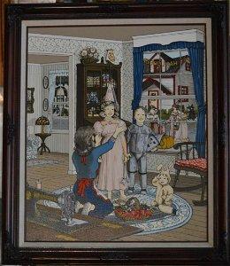 H. Hargrove Halloween Scene Serigraph